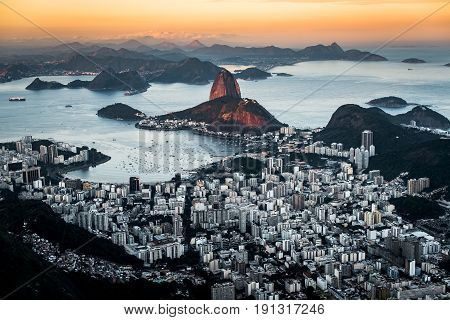Beautiful View of Rio de Janeiro by Sunset With the Sunlight Still Falling on the Sugarloaf Mountain