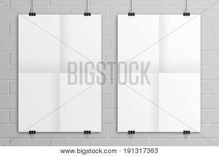 White 3D illustration folded paper poster mockup with bricks background. Paper clips hanging method and A2 or any standard ABC paper size.