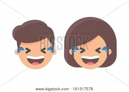 Laughing out loud emoji male and female character
