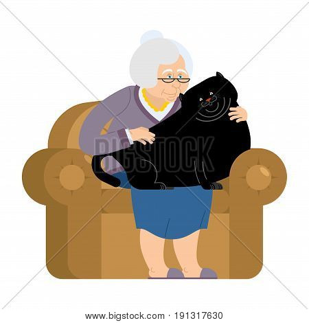 Grandmother And Fat Cat Sitting On Chair. Granny Cat Lady. Grandma And Big Pet. Old Woman And Large