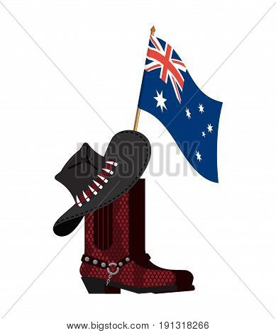 Australia Flag And Australian Hat And Crocodile Skin Boots. Cowboy Cap And Python Leather Shoes. Wes