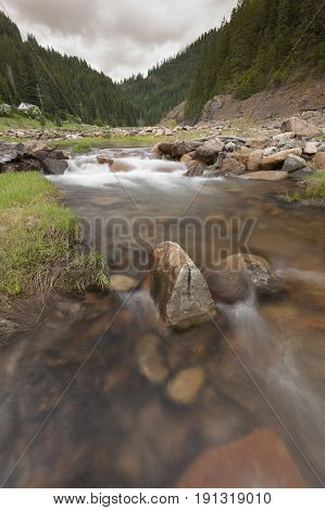 Large rocks in the stream. Large rocks in Canyon Creek a few miles from Wallace Idaho.