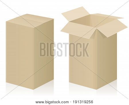 Big parcel - closed and opened - brown strong cardboard - isolated vector illustration on white background.