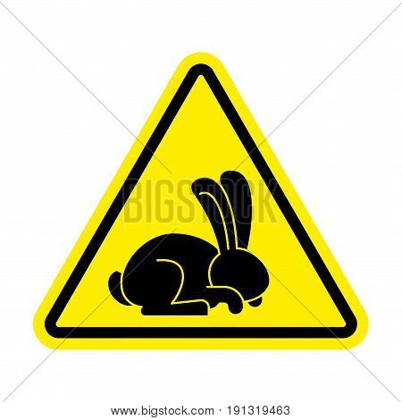 Stop rabbit. It is forbidden to prohibit bunny. Yellow prohibitory road sign