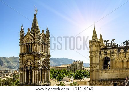 Palermo.Italy.May 26 2017.View of the historic centre and Cathedral from the roof in Palermo. Sicily