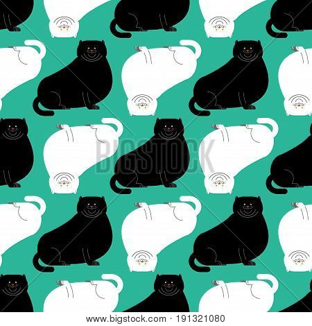 Fat White And Black Cat Pattern. Big Thick Pet Home Background