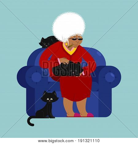 African American Grandmother And Cat Sitting On Chair. Granny Cat Lady. Grandma And Pet. Old Woman A