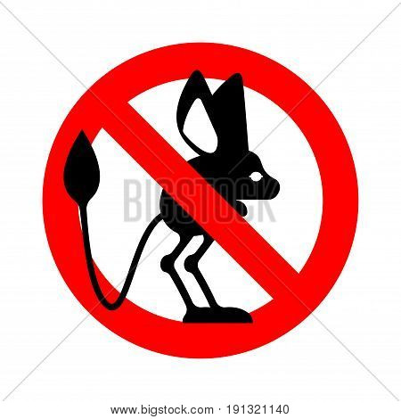 Stop Jerboa. Ban Steppe Animal Is Forbidden. Red Prohibitory Road Sign
