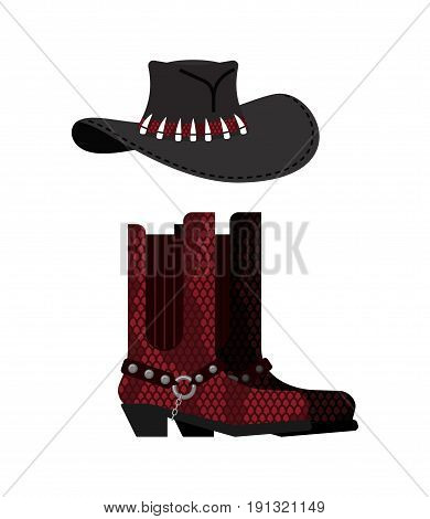Australian Hat And Crocodile Skin Boots. Cowboy Cap And Python Leather Shoes. Western Clothes And Ro