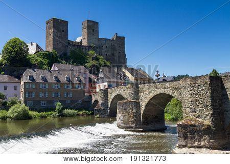 Ruin of castle Runkel over the river Lahn Hesse Germany