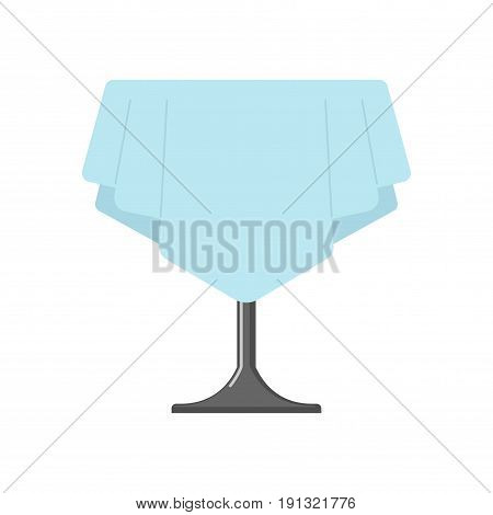 Table On One Leg With Tablecloth Isolated. Cafe Furniture On White Background