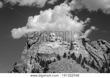 Mount Rushmore National Memorial In Black And White