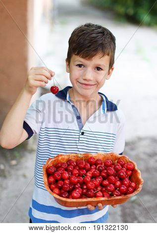 Little smiley caucasian boy holding cherry and cherries in bowl outdoor