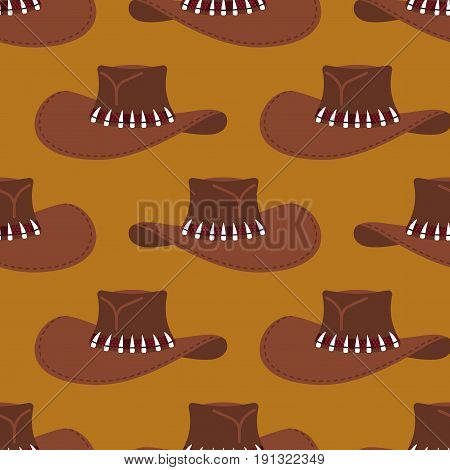 Cowboy Hat Pattern. Australian Cap Background. Western Clothing And Rodeo