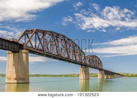 Dakota Southern Missouri River Railroad Crossing in Chamberlain South Dakota USA.