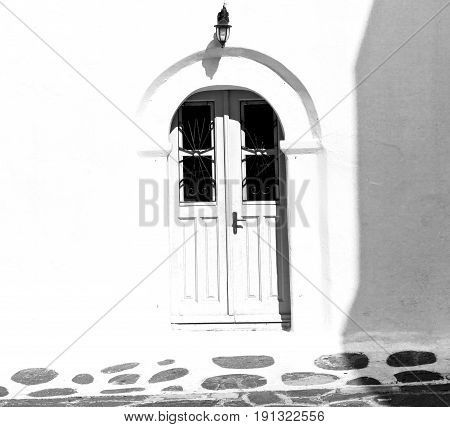 Colorated    White And Blue  House In Santorini Greece Europe Old Construction