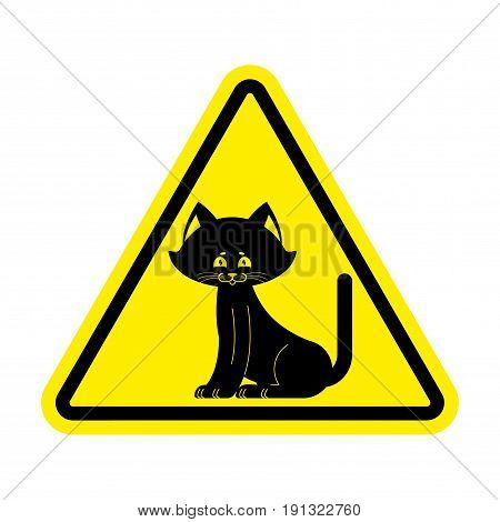 Attention Cat. Caution Pet. Yellow Triangle Road Sign