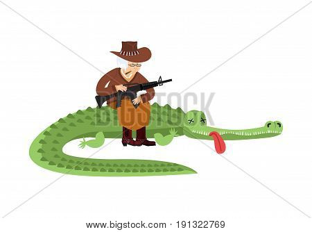 Grandmother Is Hunter For Crocodiles. Grandma Sits On Large Alligator Trophy With Gun. Old Woman In