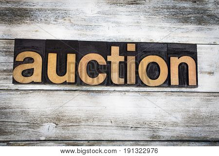 Auction Letterpress Word On Wooden Background