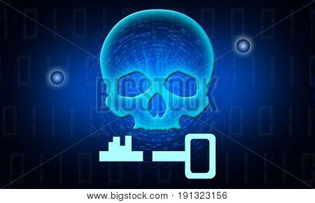 Binary Code Skull with a Key. Hacker attack, ransomware, cyber attack, virus alert illustration.
