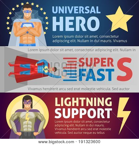 Superhero horizontal banners including persons of universal possibilities and fast speed and lightning man isolated vector illustration