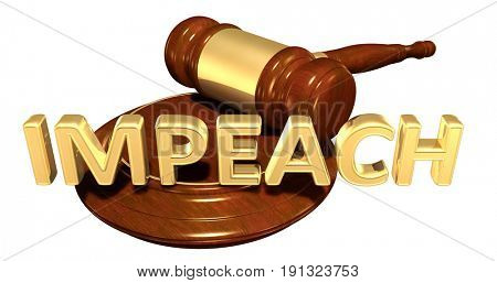 Impeach Law Concept 3D Illustration