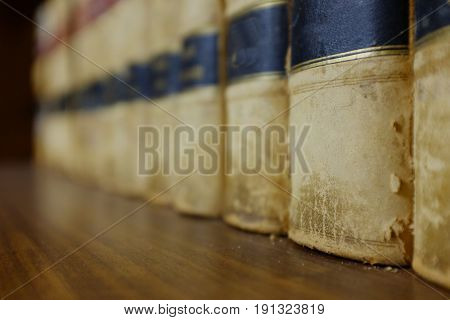 Law books in library on shelf with legal holdings