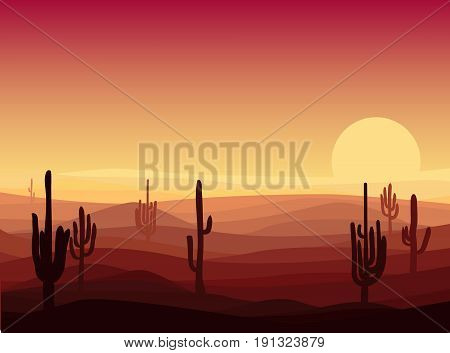 Beautiful desert landscape template with cactuses and sand dunes at sunset vector illustration