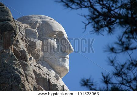 A profile view of George Washington's face on Mount Rushmore in South Dakota.