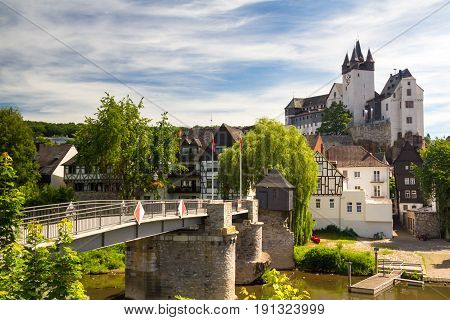 Castle Diez above the river Lahn Rhineland-Palatine Germany