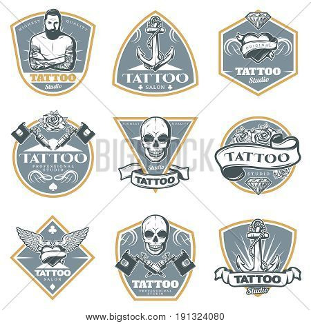 Colored tattoo studio labels set with equipment master and art elements in vintage style isolated vector illustration