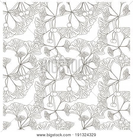 Seamless ginkgo monochrome pattern stock vector illustration