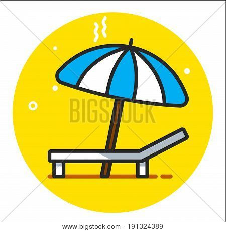 beach chair icon - beach chaise longue vector
