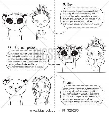3 steps Cute make-up monochrome instruction, girl and panda. Vector illustration. black and white