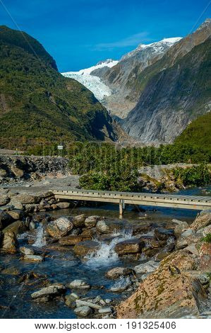 Beautiful view of Franz Josef Glacier in Westland National Park on the West Coast of South Island in New Zealand.