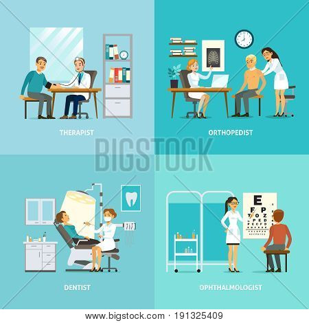 Medical treatment square composition with patients visiting different doctors for diagnostic procedures and examination vector illustration