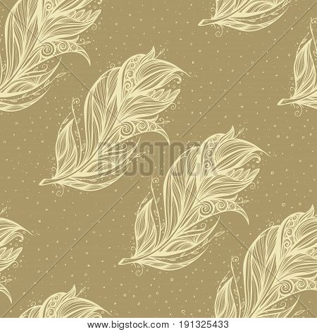 seamless pattern with white feathers on brown background