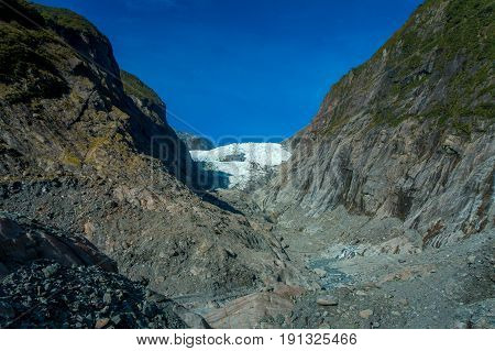 Franz Josef Glacier and valley floor, Westland, South Island, Franz Josef Glacier National Park, in New Zealand.