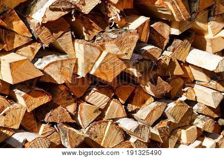 Pile of firewood background