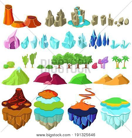 Colorful game islands landscape elements set with rocks stones waterfall crystals minerals trees plants mountains volcano lava isolated vector illustration