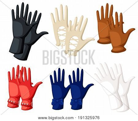 Winter Gloves Object Vector Illustration Flat Design Gloves Icon Work Gloves. Logo Concept. Vector S