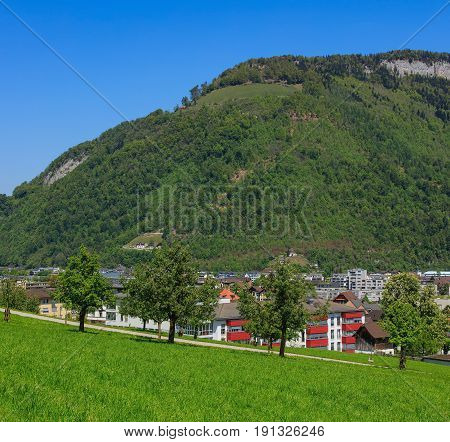 View of the town of Stans in Switzerland at the beginning of May. The town of Stans is the capital of the Swiss canton of Nidwalden.