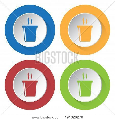 Set of four round colored buttons and icons. Hot fastfood drink with smoke.