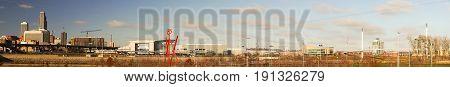 Long Panoramic Omaha Nebraska Downtown City Skyline