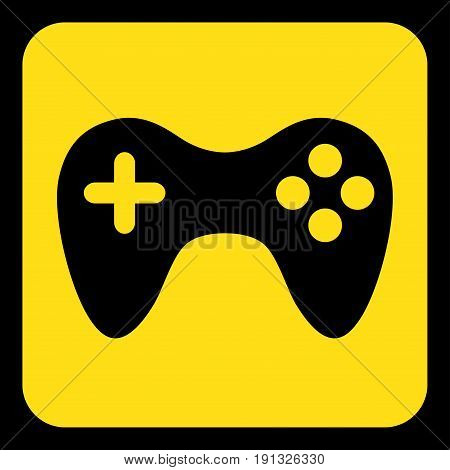 yellow rounded square information road sign with black gamepad icon and frame