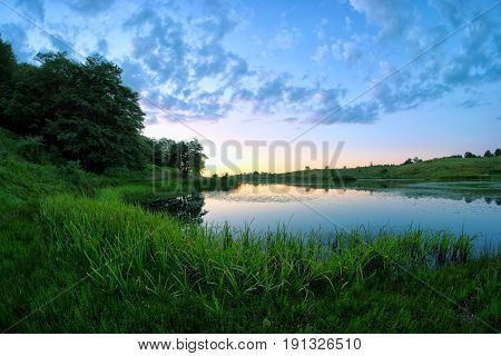twilight on Biviere Lake in Nebrodi Park, Sicily