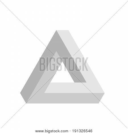 Penrose triangle icon in grey. Geometric 3D object optical illusion. Vector illustration.