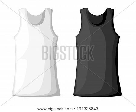 Vector Illustration With Realistic Male Shirt Template. Woman's White Sleeveless Tank Top In Front A