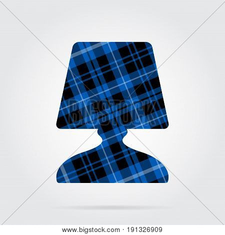blue black isolated tartan icon with white stripes - bedside table lamp and shadow in front of a gray background