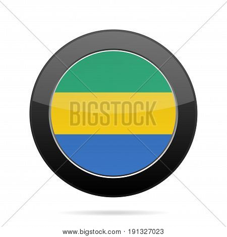 National flag of Gabon. Shiny black round button with shadow.